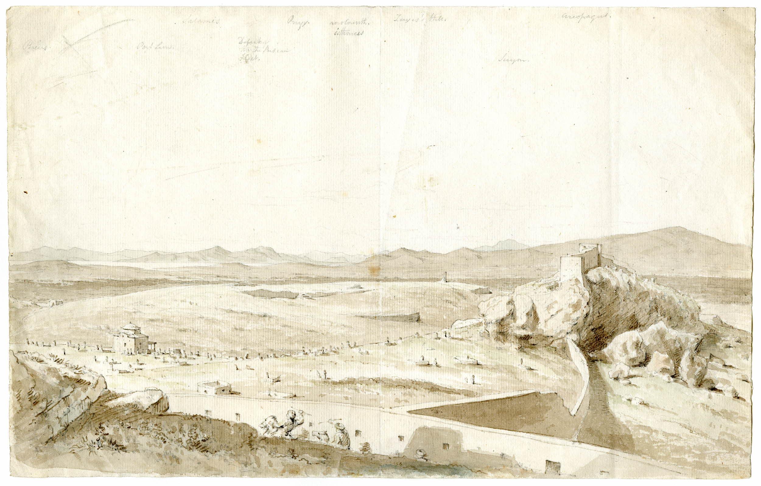Το τείχος του Χασεκή (1778) συνδέει το Κάστρο με τον Άρειο Πάγο· έξω από το τείχος, το Μουσουλμανικό κοιμητήριο (The British Museum).