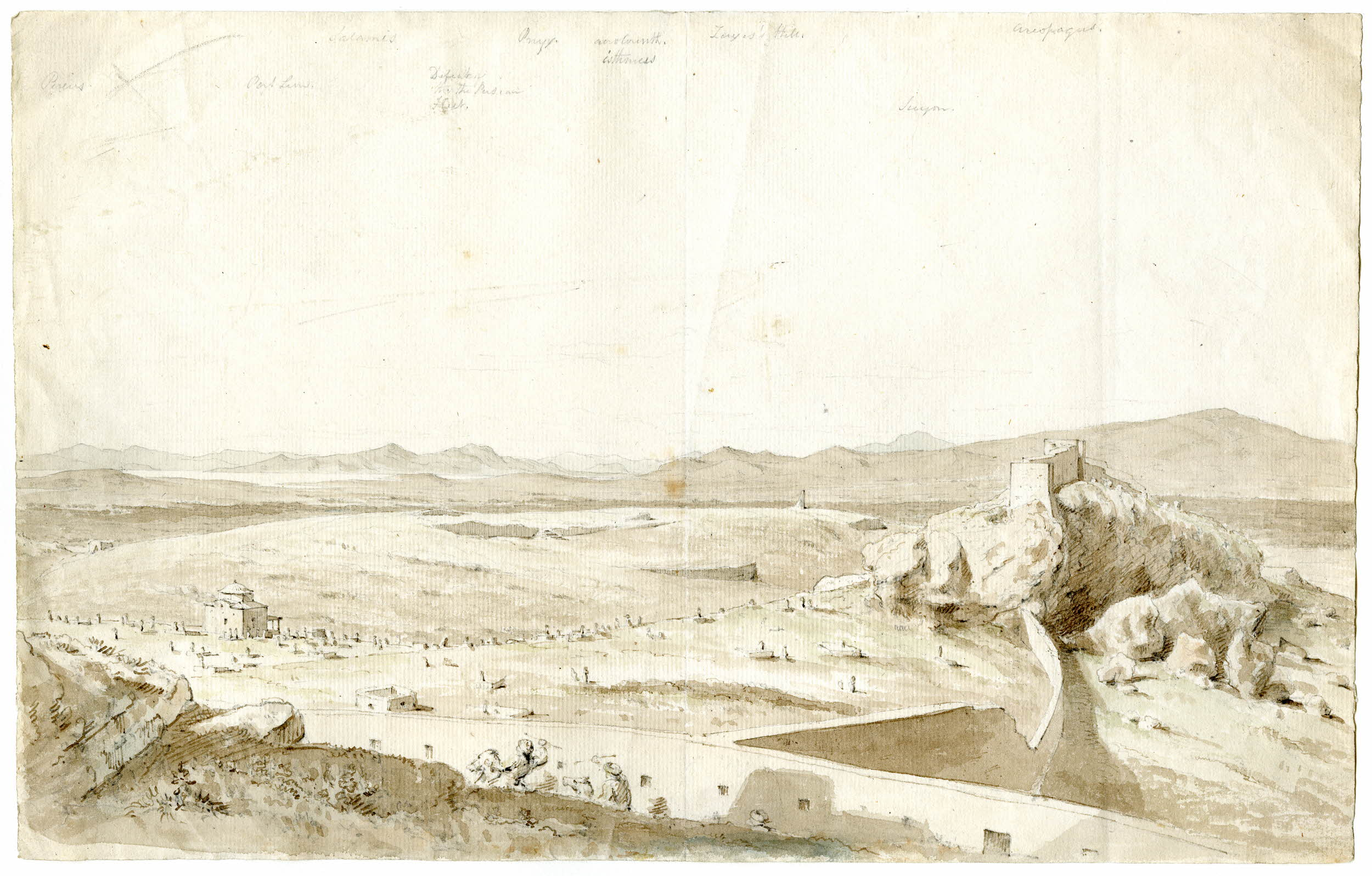The Haseki wall (1778) connects the Castle with the Areiopagos; outside the wall, the Muslim cemetery (The British Museum).