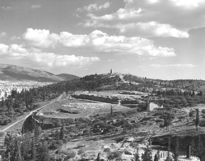 Front right, the small caves of the Hill of the Nymphs; photo taken from the Observatory building (American School of Classical Studies at Athens, Agora Excavations, AT 220).