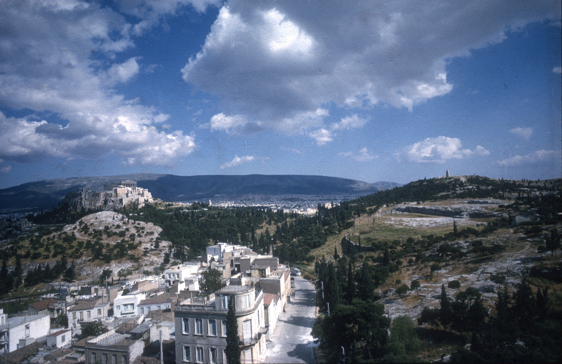 Με το δενδροφύτεμα, ο γκρίζος ασβεστόλιθος των βράχων έχασε την πρωτοκαθεδρία του στο τοπίο (Αμερικανική Σχολή Κλασικών Σπουδών στην Αθήνα, Φωτογραφικό Αρχείο των Ανασκαφών Αρχαίας Αγοράς, 2004.01.0400 [HAT 64-169]).