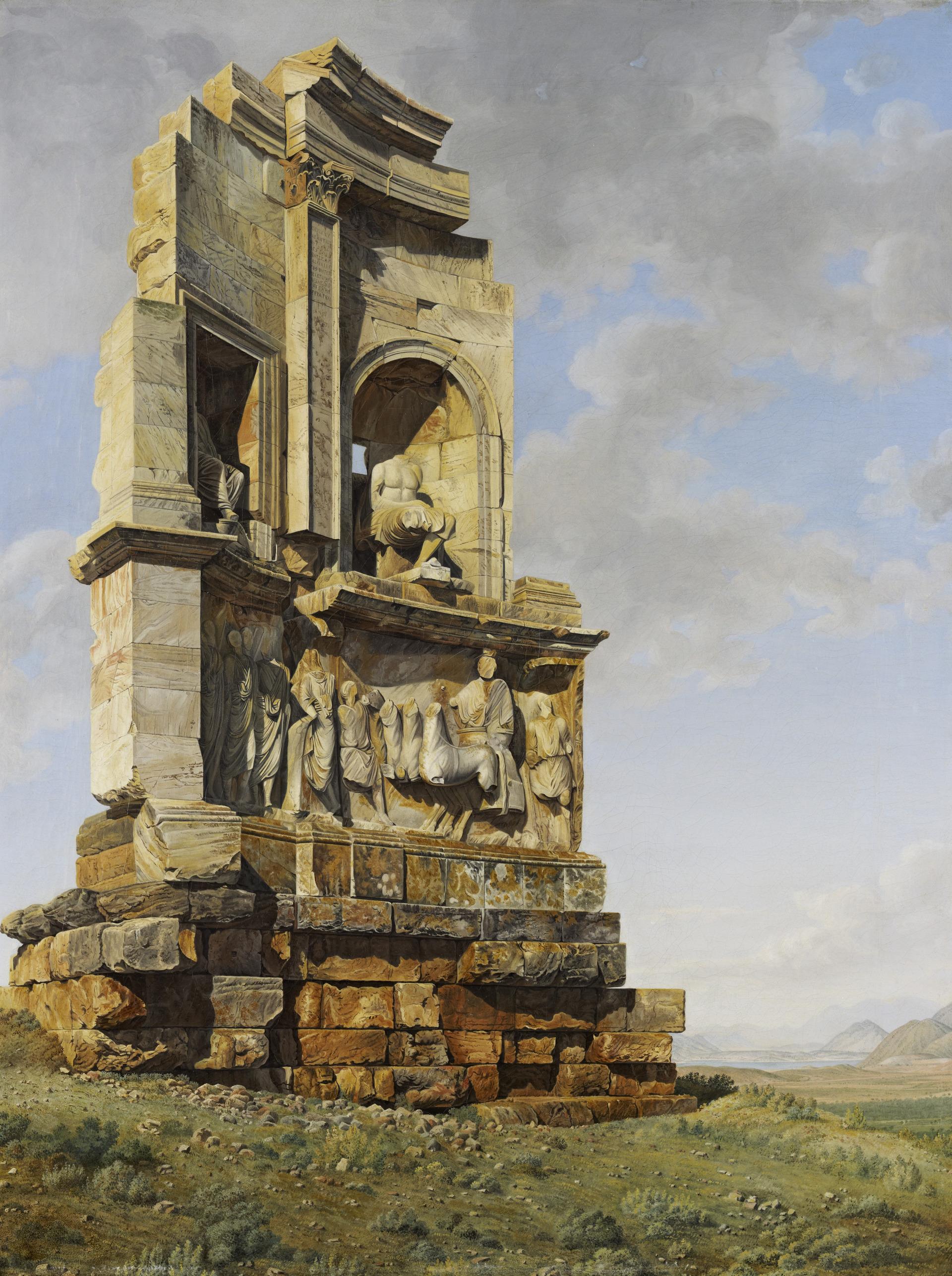 Το μνημείο του Φιλοπάππου λέγεται πως κτίστηκε στην ίδια θέση όπου παλαιότερα είχε ταφεί ο ποιητής Μουσαίος (Παυσανίας 1.25.8) (National Galleries Scotland).