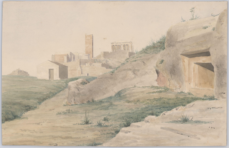 Τα λεγόμενα «Κιμώνεια Μνήματα» και ο βράχος της Ακρόπολης με τα μνημεία της· ο Λουμπαρδιάρης, απλός και απέριττος (Royal Danish Library - Danish National Art Library).