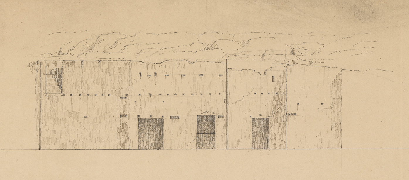 "The face of the scarp accommodating the wall of an ancient house bearing visible holes for the beams of the upper storey; the so-called ""Prison of Socrates"" (Royal Danish Library - Danish National Art Library)."