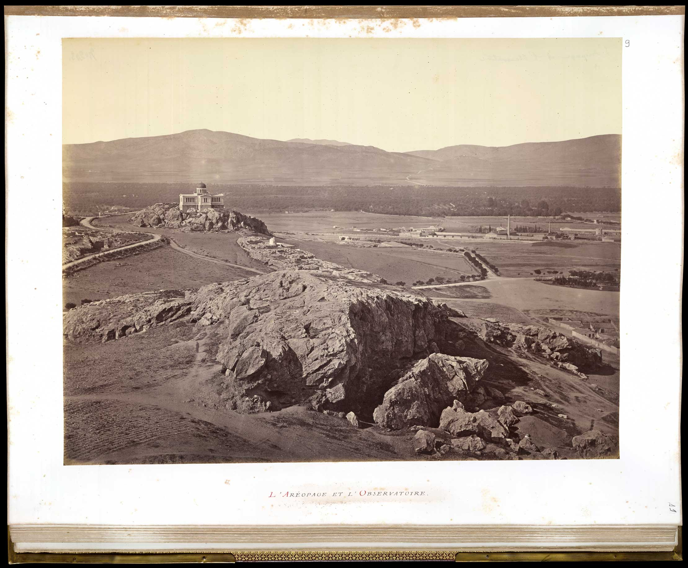 To the front, the Areopagus followed by the Archaic shrine of Zeus, along with the little church of Agia Marina and the Observatory to the far back (The Brazilian National Library [BN]).