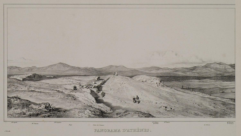 Το βήμα της Πνύκας· στο κέντρο δεξιά, ο λόφος των Νυμφών πριν από την ανέγερση του Αστεροσκοπείου. Στα αριστερά του, ερειπωμένο κυκλικό κτίσμα, ίσως ανεμόμυλος (Γεννάδειος Βιβλιοθήκη - Αμερικανική Σχολή Κλασικών Σπουδών στην Αθήνα, από την ιστοσελίδα του Ιδρύματος Αικατερίνης Λασκαρίδη).
