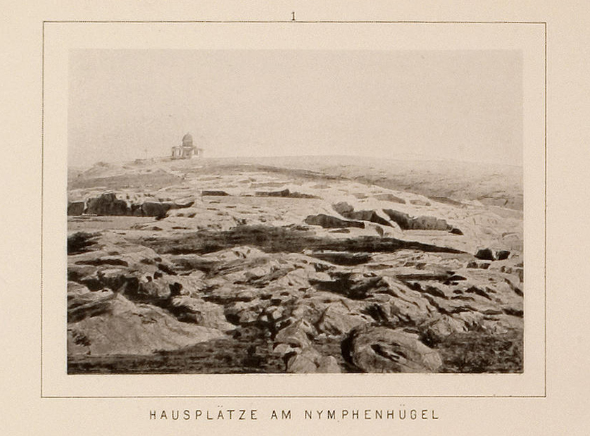 Extensive cuttings on the western slope of the Hills of the Nymphs, before being quarried (Universität Heidelberg).