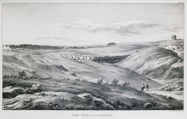 Oι πλαγιές της Πνύκας στο πέρασμα των αιώνων· δεξιά, ο ανεμόμυλος προτού ερειπωθεί (Γεννάδειος Βιβλιοθήκη - Αμερικανική Σχολή Κλασικών Σπουδών στην Αθήνα, από την ιστοσελίδα του Ιδρύματος Αικατερίνης Λασκαρίδη).
