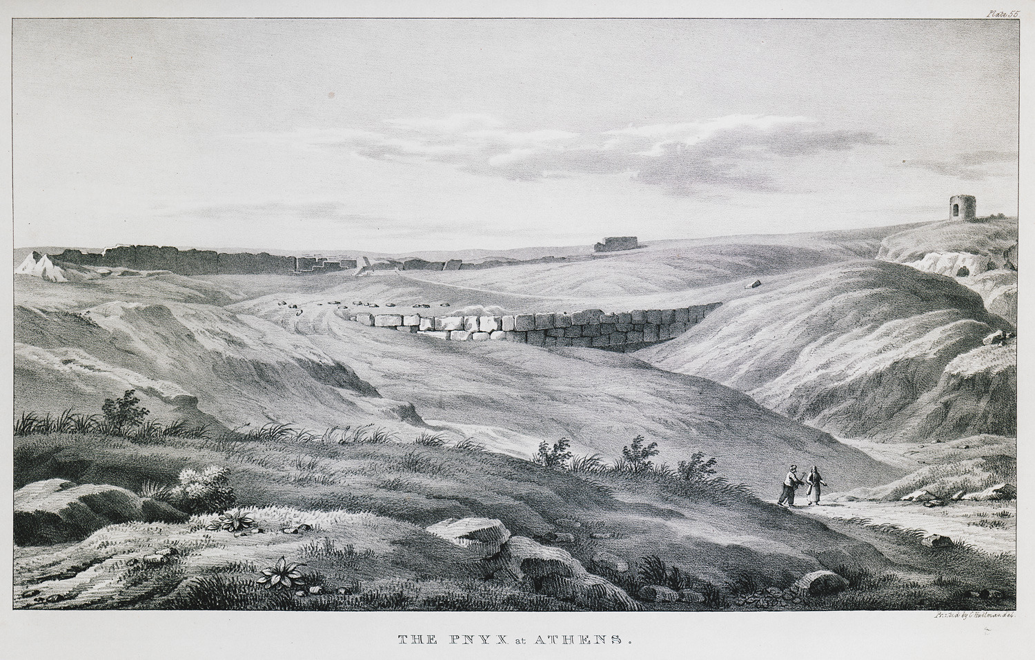 The slopes of the Pnyx through centuries; to the right, the wind mill before being ruined (The Gennadius Library - American School of Classical Studies at Athens, from the website of the Aikaterini Laskaridi Foundation).